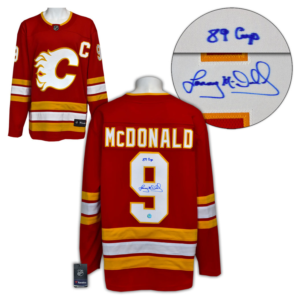 Lanny McDonald Calgary Flames Signed with 89 Cup Note Alt Retro Fanatics Jersey