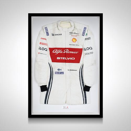 Photo of Kimi Raikkönen 2019 Framed Race-worn Race Suit