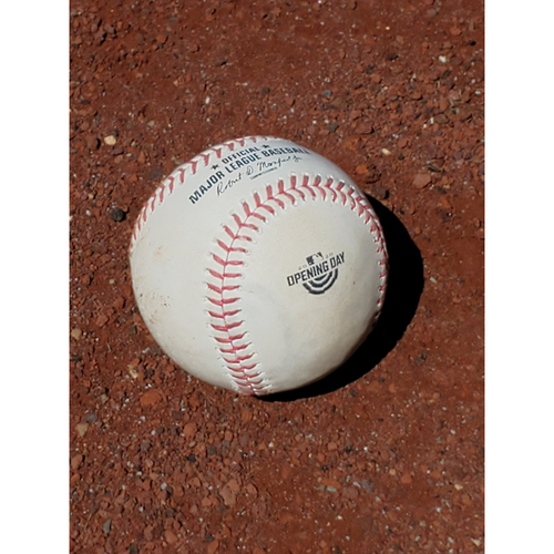 Photo of 2020 Opening Day Game Used Baseball: Pitcher: Aaron Nola, Batter: Garrett Cooper - Strike Out - Top 5 - 7-24-2020 vs. MIA