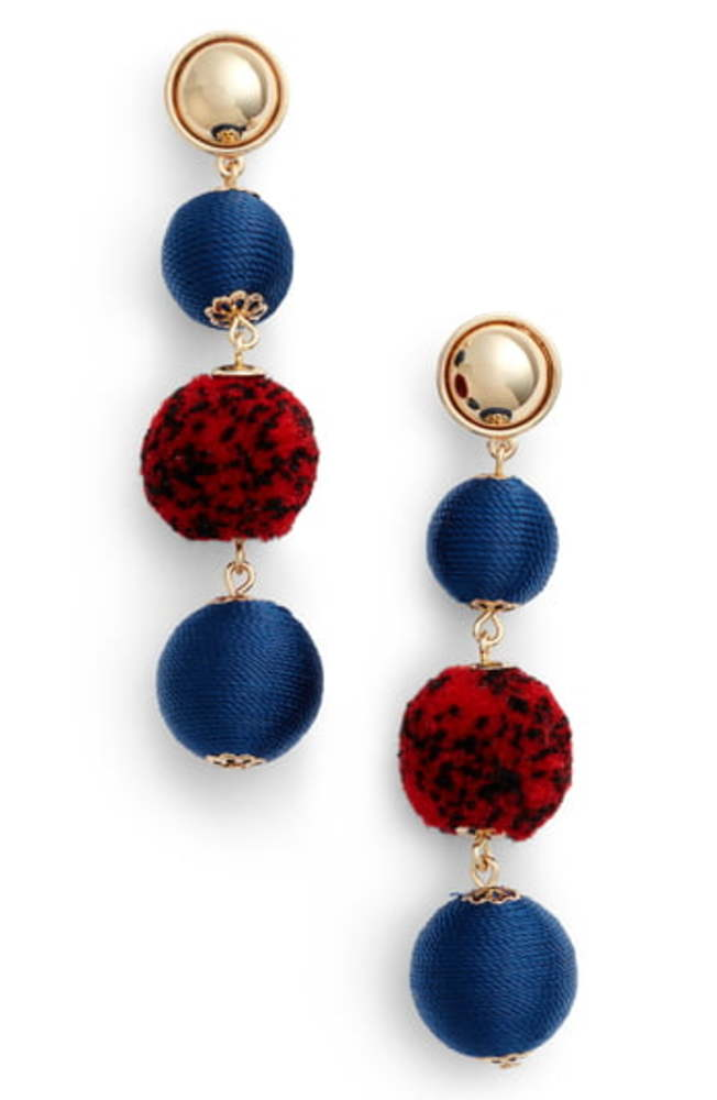 Photo of Rebecca Minkoff Threaded Pompom Drop Earrings