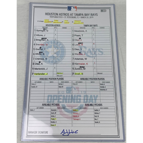 Photo of Astros 2019 Opening Day Game-Used Lineup Card. Justin Verlander vs Blake Snell