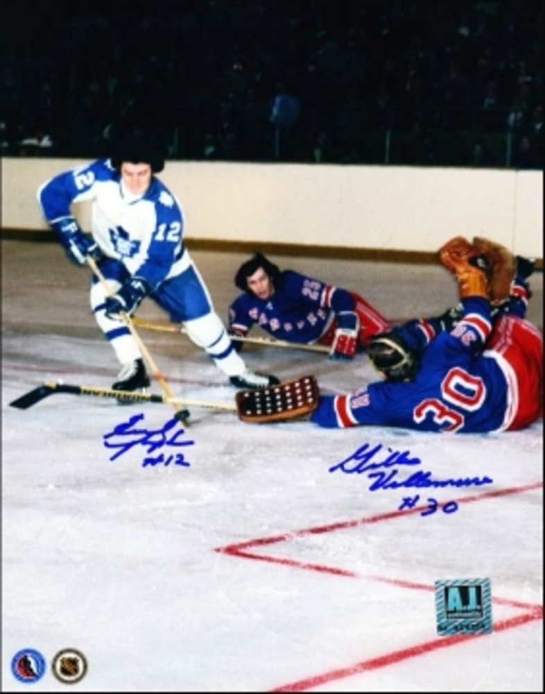 ERROL THOMPSON vs GILLES VILLEMURE Toronto Maple Leafs vs New York Rangers Dual SIGNED 8x10 Photo