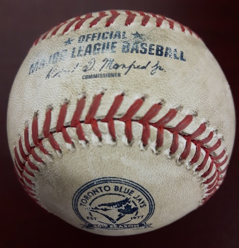 Photo of Authenticated Player Collected Baseball - Home Run by #21 Michael Saunders (17th of the Season) vs James Paxton on July 22, 2016 (Bottom 2).