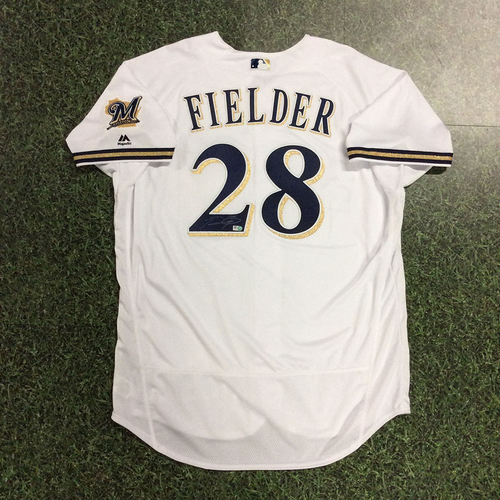 Photo of Prince Fielder Autographed & Team-Issued Wall of Honor Induction Ceremony Jersey (07/24/18)