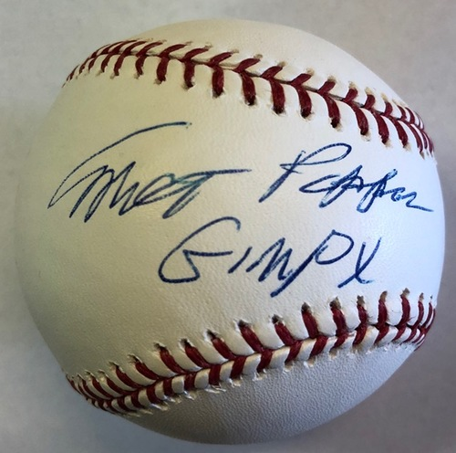 "Photo of Milt Pappas ""Gimpy"" Autographed Baseball"