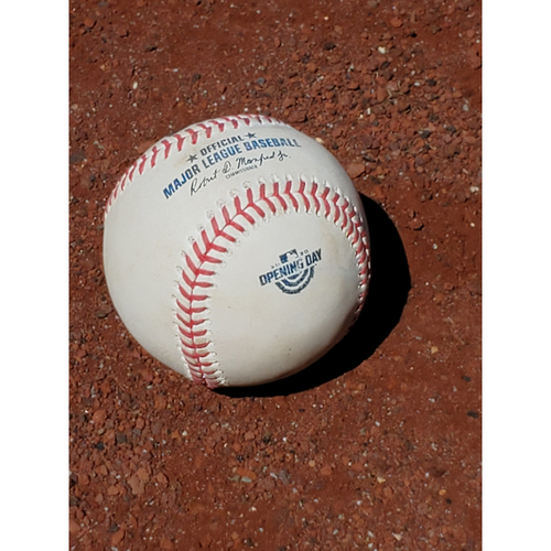 Photo of 2020 Opening Day Game Used Baseball: Pitcher: Sandy Alcantara, Batter: Didi Gregorius - Home Run - Bot 5 - 7-24-2020 vs. MIA