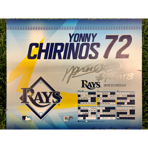 Photo of Rays Baseball Foundation: Game Used Autographed Opening Day Locker Tag: Yonny Chirinos - Rookie Season - March 29, 2018 v BOS