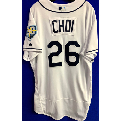 Photo of Game Used 20th Anniversary Home White Jersey: Ji-Man Choi - 2 Games - September 24-25, 2018 v NYY
