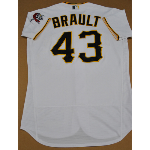 Game-Used 2020 Home Jersey - MIL at PIT - 7/27/2020 - Steven Brault - Size 44
