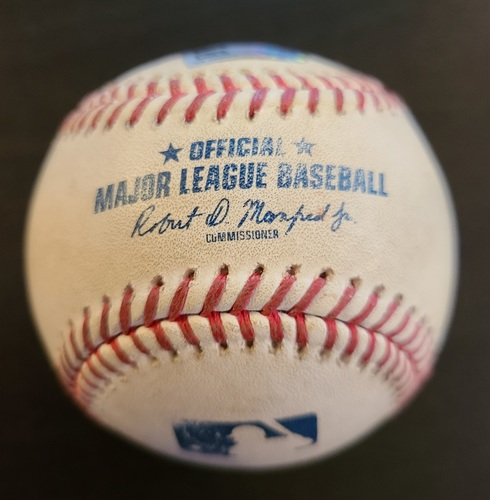Photo of Authenticated Game Used Baseball: Single by Ronald Acuna against Robbie Ray (Apr 30, 2021 vs ATL). Top 7. Game played in Dunedin, FL.