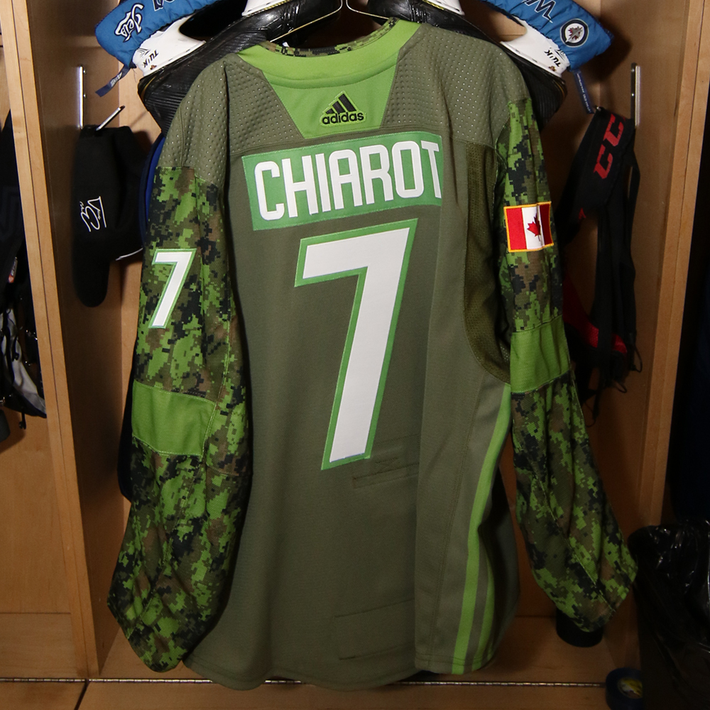BEN CHIAROT  Warm Up Worn Canadian Armed Forces Jersey