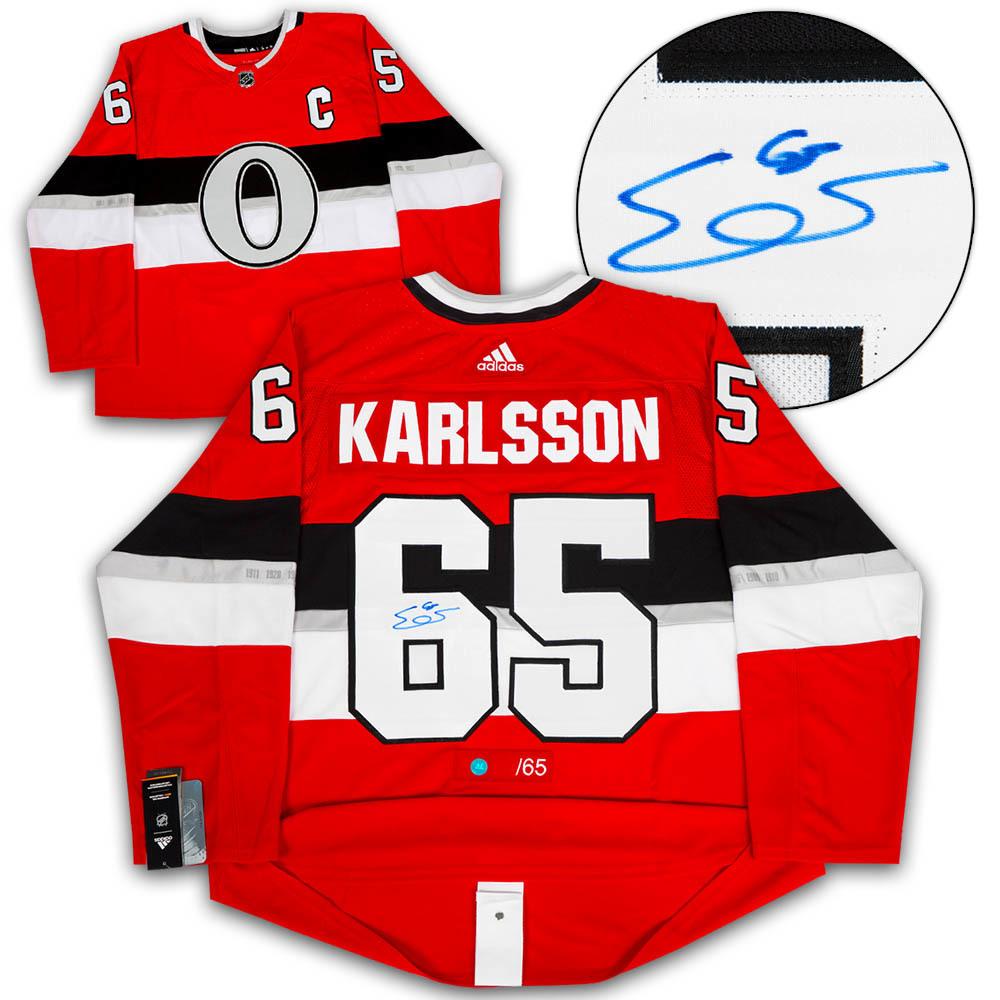 Erik Karlsson Ottawa Senators Signed NHL 100 Classic Adidas Authentic Jersey LE of 65