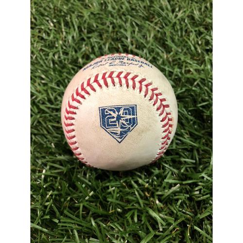 Photo of 20th Anniversary Game Used Baseball: Giancarlo Stanton 2RBI (Gardner, Judge) single off and Aaron Hicks foul ball off Ryne Stanek - July 23, 2018 v NYY
