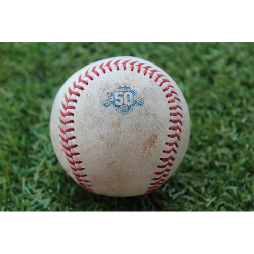 Photo of Game-Used Baseball: Marcell Ozuna 802nd Career Hit (STL @ KC - 8/11/18)