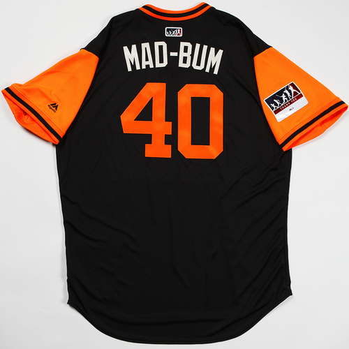 "Photo of Madison ""Mad-Bum"" Bumgarner San Francisco Giants Team-Issued 2018 Players' Weekend Jersey"