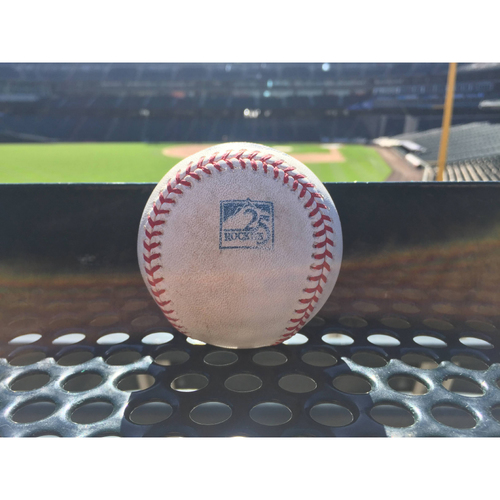 Photo of Colorado Rockies Game-Used Baseball - Senzatela v. DeJong - Flyout to Blackmon - August 24, 2018