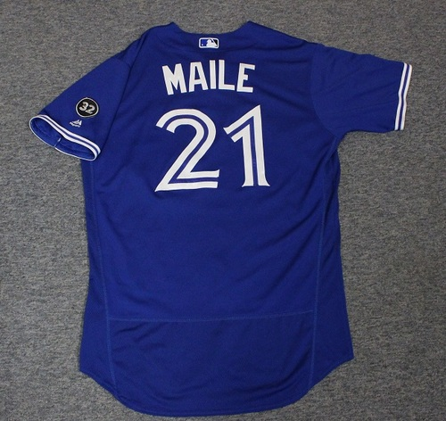 Photo of Authenticated Game Used Jersey - #21 Luke Maile (June 2, 2018: 2-for-2 with 1 HR, 1 2B, 2 Runs, 1 RBI, and 1 BB. June 9, 2018: 0-for-4 with Walk-Off RBI Walk). Size 46.