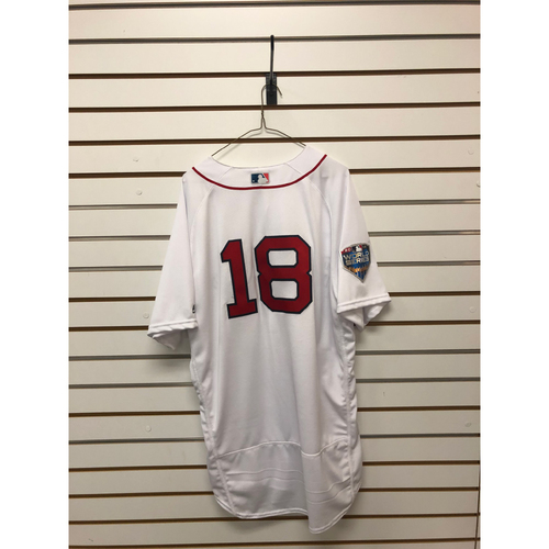 Photo of Mitch Moreland Game-Used October 23, 2018 World Series Game 1 Home Jersey