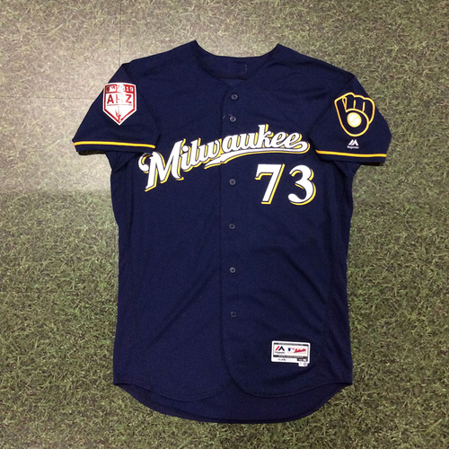 Photo of Marcos Diplan 2019 Team-Issued Spring Training Jersey (Milwaukee Brewers #17 Prospect)