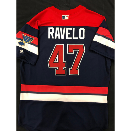 Photo of Rangel Ravelo Team Issued 2019 St. Louis Blues Themed Cardinals Jersey (Size 48)