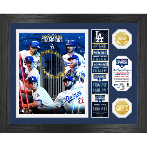 """Photo of Serial #1! Los Angeles Dodgers 2020 World Series Champions """"Banner"""" Bronze Coin Photo Mint"""
