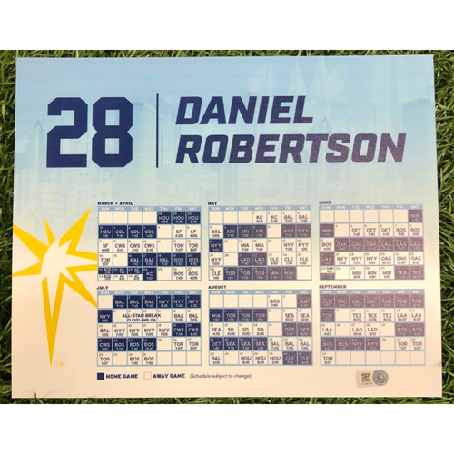 Photo of Rays Baseball Foundation: Game Used Opening Day Locker Tag: Daniel Robertson - March 28, 2019 v HOU
