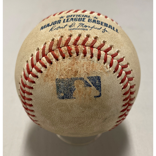 Photo of 2021 Game Used Baseball used on 8/12 vs. COL - B-4: Marquez to Casali - RBI Double to LF (Crawford Scores)