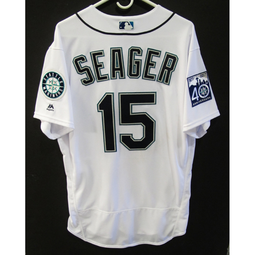 Kyle Seager Game-Used Home 40th Anniversary White Jersey Size 46