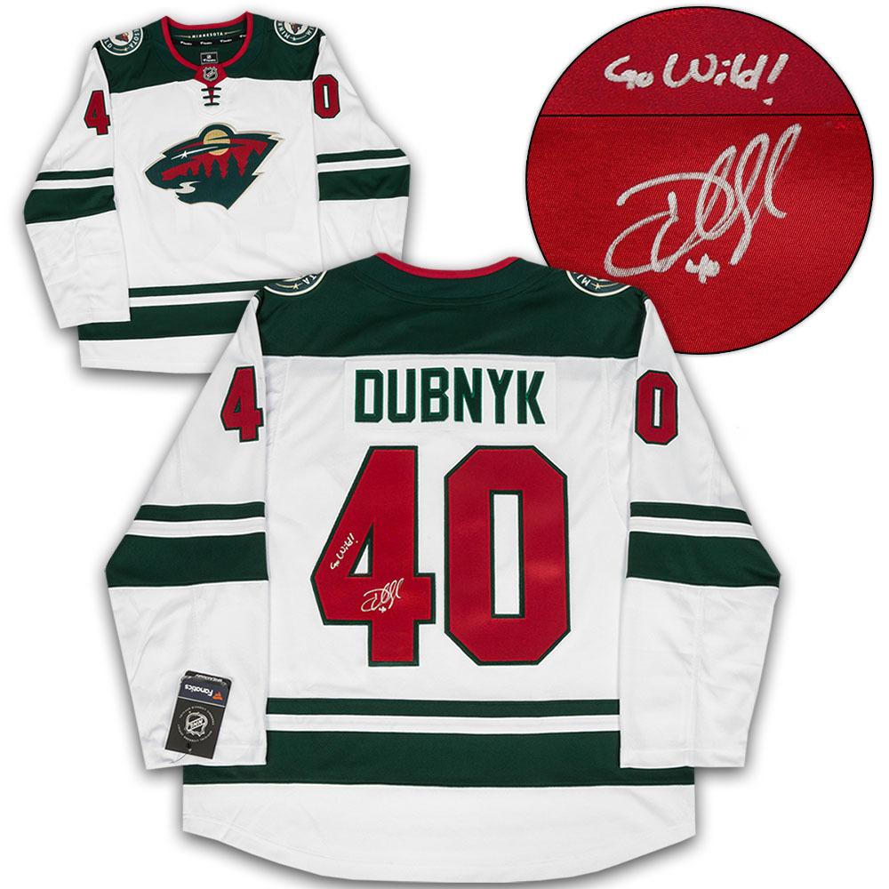 Devan Dubnyk Minnesota Wild Signed White Fanatics Hockey Jersey with Go Wild