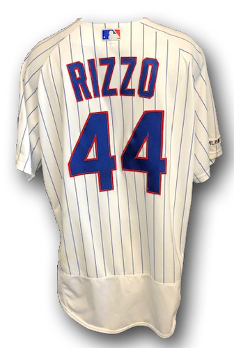 Photo of Anthony Rizzo Game-Used Jersey -- Rizzo 2-3, 4 RBI, 1 BB, Grand Slam, HR (20) -- Padres vs. Cubs -- 7/19/19 -- Size 50