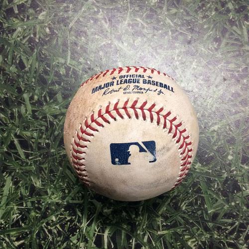 Photo of Game-Used Baseball WSH@MIL 05/07/19 - Stephen Strasburg - Yasmani Grandal (Strikeout) & Ben Gamel (Single)