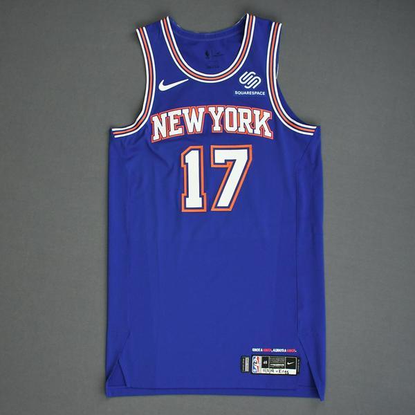 Image of Ignas Brazdeikis - New York Knicks - Game-Worn Statement Edition Rookie Debut Jersey - 2019-20 Season
