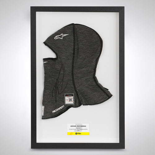Photo of Daniel Ricciardo 2020 Framed Signed Race Used Balaclava