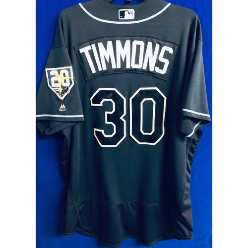 Photo of Game Used 20th Anniversary Alternate Navy Jersey: Ozzie Timmons - September 29, 2018 v TOR