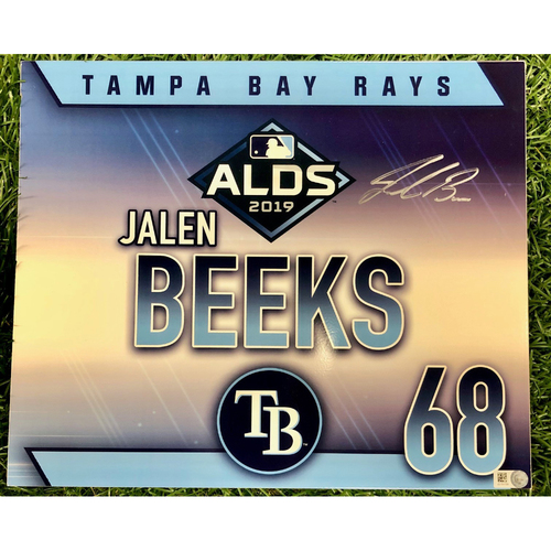 Photo of Rays Baseball Foundation: Team Issued Autographed Locker Tag: Jalen Beeks - 2019 ALDS