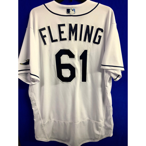 Photo of Game Used ALCS Game #7 Home White Jersey: Josh Fleming - October 17, 2020 v HOU