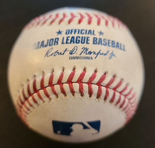 Photo of Authenticated Game Used Baseball: Double by Bryce Harper against Joel Payamps (May 14, 2021 vs PHI). Top 9. Game played in Dunedin, FL.