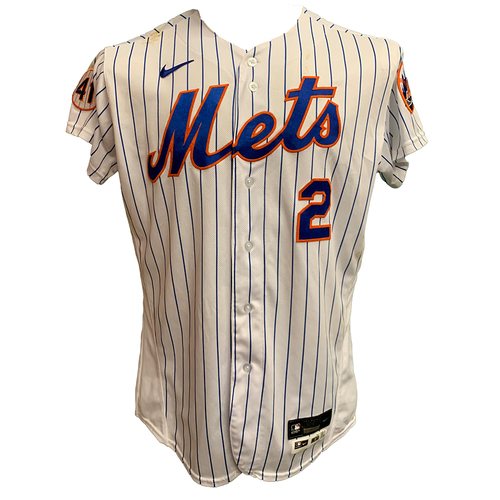 Photo of Dominic Smith #2 - 3-4, 2B, 2 RBI's and 1 Run Scored - Game Used White Pinstripe Jersey with Seaver Patch - Mets vs. Orioles - 5/12/21
