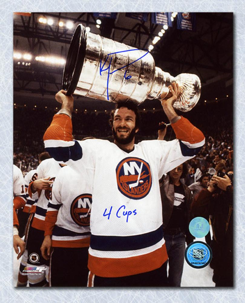 Ken Morrow New York Islanders Autographed Stanley Cup 8x10 Photo
