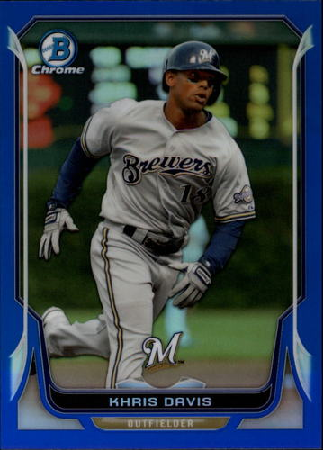 Photo of 2014 Bowman Chrome Blue Refractors #119 Khris Davis