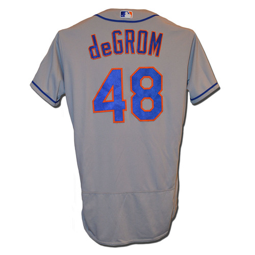 Jacob deGrom #48 - Game Used Road Grey Jersey - deGrom Earns 13th Win of 2017, 6.2 IP, 9 K's - Mets vs. Phillies - 8/10/17