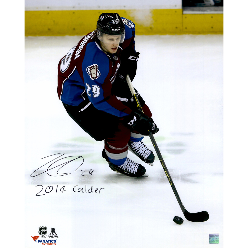 Nathan MacKinnon Colorado Avalanche Autographed 16'' x 20'' Photograph with 2014 Calder Inscription - Frameworth