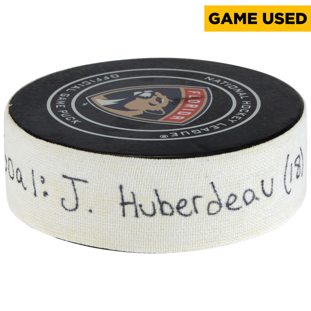 Jonathan Huberdeau Florida Panthers Game-Used Goal Puck from February 3, 2018 vs. Detroit Red Wings