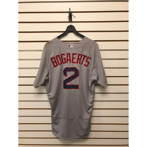 Photo of Xander Bogaerts Game-Used July 4, 2017 Road Jersey