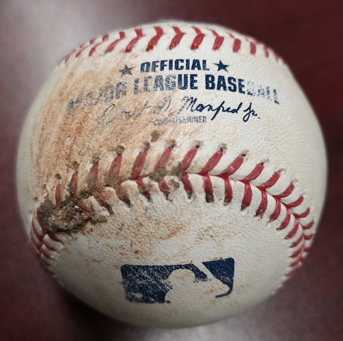 Photo of Authenticated Game Used Baseball - MLB Debut for Thomas Pannone. Ball by Thomas Pannone to Willy Adames (August 10, 2018). Top 7.