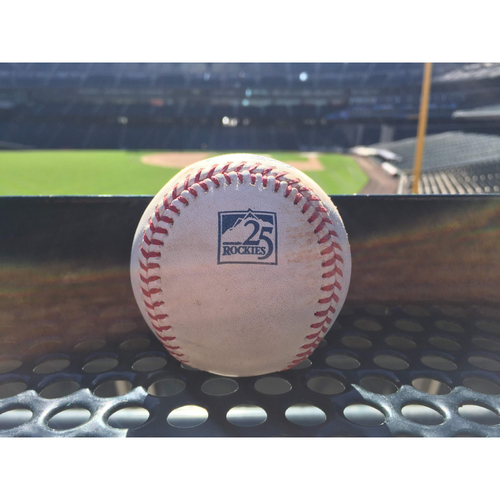 Photo of Colorado Rockies Game-Used Baseball - Marquez v. Peralta - Single to Parra - September 10, 2018