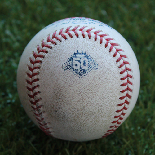 Photo of Game-Used Baseball: Aaron Slegers Pitched Strikeout to Alcides Escobar (MIN @ KC - 5/30/18)