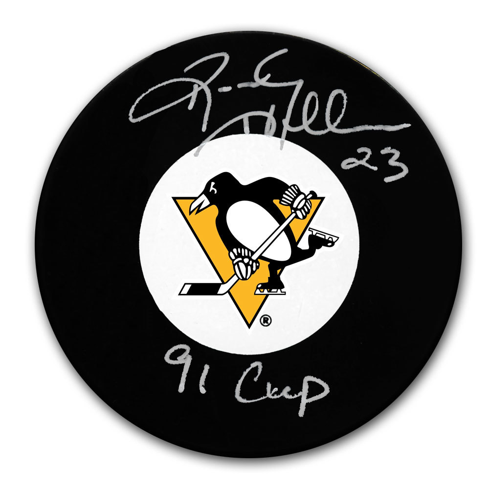 Randy Hillier Pittsburgh Penguins 1991 Cup Autographed Puck