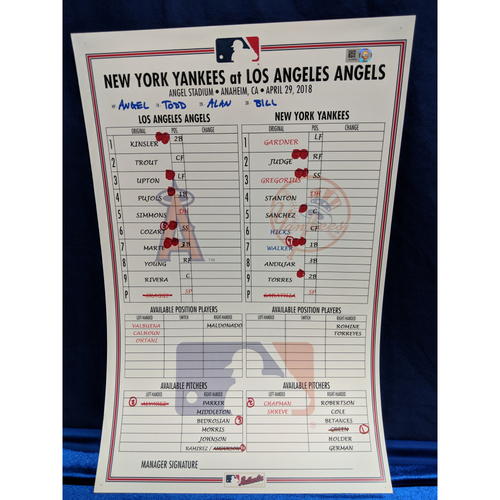 Photo of Los Angeles Angels v New York Yankees Game-Used Line Up Card April 29th 2018