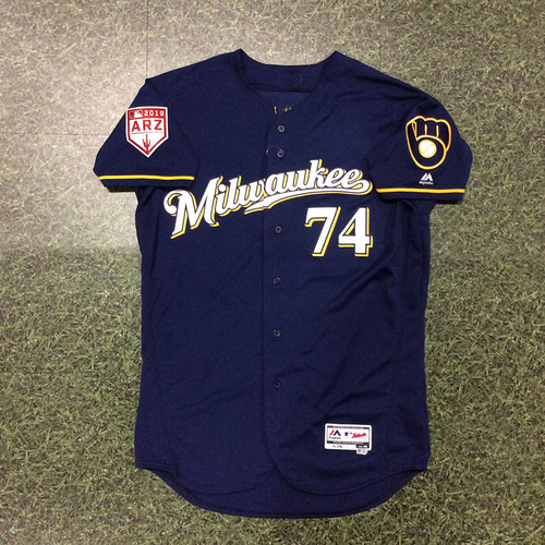 Photo of Zack Brown 2019 Game-Used Spring Training Jersey (Milwaukee Brewers #1 Pitching, #6 Overall Prospect)